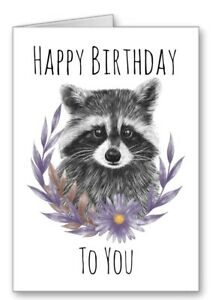 Raccoon Card Happy Birthday Flower Garland Cute All Cards 3for2