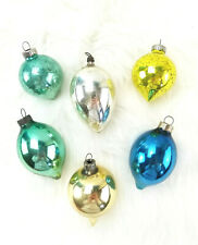 6 Vintage Torpedo Teardrop Bulb Mercury Glass Christmas Tree Ornaments