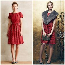 New ANTHROPOLOGIE 4 Rubied Dress Moulinette Soeurs Red Lace Fit and Flare Party
