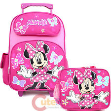 Minnie Mouse Large School Roller Backpack with Lunch Bag 2pc Set- Candy Bows