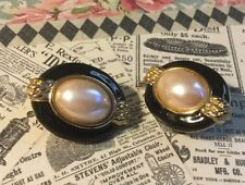 Large Pierced GoldTone Oval Black And Bead Earrings