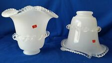 """2- Murano Glass?Italy Cristal☆Clear/Frosted Lamp Shades☆2.25""""Noodle Tulip Glass☆"""