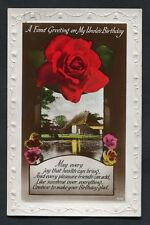 Posted 1945: Birthday Card: Barn & Rose: My Uncle: Joy/Health