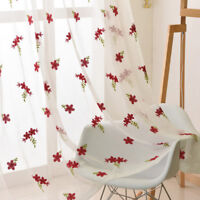 """Semi Sheer Curtain Bedroom Window Drape Embroidery Red Floral Voile 63/84"""" Tulle"""