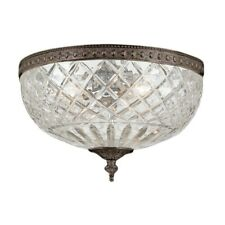 Crystorama 3 Light Bronze Crystal Ceiling Mount 12x9' - 117-12-EB