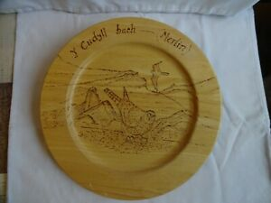 Pyrography Wall Plate, Birds, Handmade Diameter 30 cm (12 inches)