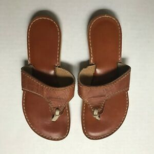 KINO Brown Leather Flip Flop Sandal Made In Key West Florida 24 cm Womens sz 7.5
