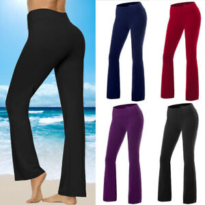 Womens Bootcut Yoga Pants Bootleg Flared Trousers Casual Fitness Workout Sports
