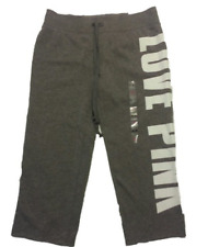 VICTORIAS SECRET LOVE PINK CROPPED SWEAT PANTS grey SMALL NEW