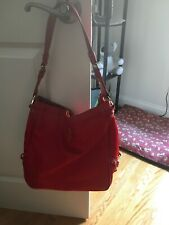 JPK PARIS 75 NewLarge Red Nylon & Red Faux Leather Laptop Tote Hobo Shoulder Bag