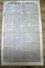 <1819 newspaper PRESIDENT JAMES MONROE visits AUGUSTA Ga & NASHVILLE Tennessee