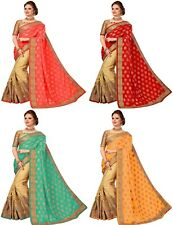 Indian Jeccared Silk and Satin Latest Bollywood Heavy Embroidery Designer Saree