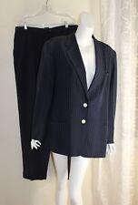 Ralph Lauren -Sz 16 Classic Navy Blue Silk Pinstripe Vintage Suit Jacket Pants