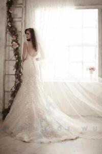 NWT Size 12 Christina Wu 15595 Ivory & Light Gold lace rhinestone bridal gown