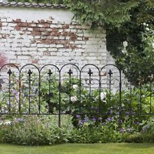 Folding Decorative Garden Fence with 5 Coated Metal Panels Patio Path Edging