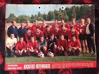 Poster mit 4 Autogrammen KICKERS OFFENBACH 68/69-R.Weida †-Fans/Geschenk-79/17