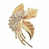 Vintage Signed Crown Trifari Clear Rhinestone Floral Brooch Pin