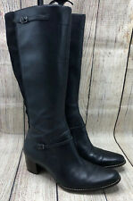 Timberland Black Leather Side Zipper Knee Height Boots Shoes Womens Size 8.5 W