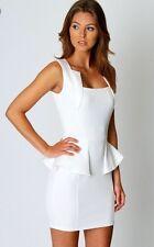 BNWOT Boohoo White Square Neck Peplum Bodycon Mini Skirt - Size 6
