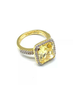 9CT YELLOW GOLD ON SILVER FANCY CZ DRESS RING UK SIZES K, L, M, N, O , P - BOXED