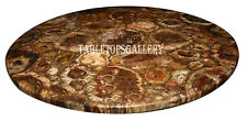 """30"""" Marble Coffee Table Top Real Tiger Eye Stone Inlay Hallway Arts Decor H2493A"""