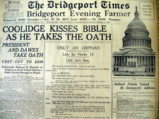 1925 headline display newspaper INAUGURATION of CALVIN COOLIDGE as US PRESIDENT