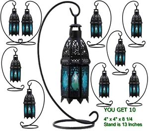10 LACEY BLACK W /BLUE GLASS WEDDING GARDEN PATIO CANDLE LANTERNS PROM