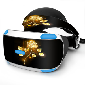 Skin Wrap for Sony Playstation PSVR Headset Gold Rose glowing