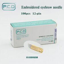 PCD 12/14 Pines Cejas microblading agujas para pluma tatuaje Manual de bordado de 3D