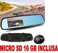 DVR AUTO SPECCHIETTO RETROVISORE FULL HD 1080P + SD 16 GB TELECAMERA PARCHEGGIO