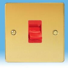 VARILIGHT 45a Cooker White Switch 1 Gang 1 or 2 Way Ultra Flat Polished Brass