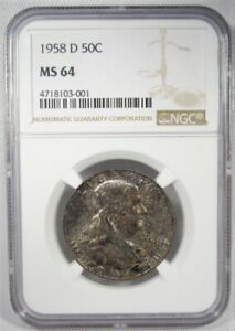 1958-D Franklin Half Dollar NGC MS64 Coin AJ875