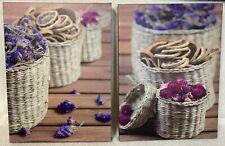 """Farmhouse Wall Decor Canvas Wrap Prints 2pc Set 16""""X12""""X1"""" floral wicker baskets"""