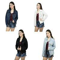 Women's Fashion Basic Button Down Denim Jean Jacket Ladies Stretch Denim Jacket