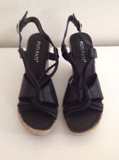 Poti Pati Wedge Slingback Strappy Shoes Size 3 Synthetic Black BNWOB