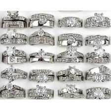 5Pcs Stainless Steel Zircon Infinity Engagement Ring Womens Silver Wedding Band