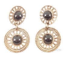Tribal Gold Black Filigree Double Disc Costume Jewellery Dangle Earrings