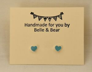 Turquoise Heart Earrings   Turquoise Heart Studs   Heart Studs    FREE GIFT WRAP
