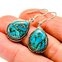 "Blue Copper Turquoise 925 Sterling Silver Earrings 1 3/8"" Jewelry E410024F"