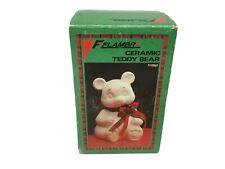 Vintage Flambro White Ceramic Teddy Bear #1192