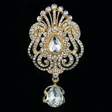 Stunning rhinestone crystal gold large bridal bouquet brooch pin wedding party C