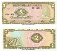 Nicaragua 2 Cordobas 1972  P-121a Banknotes UNC