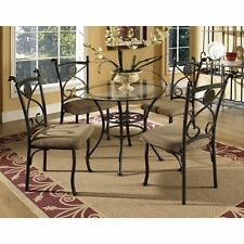 Rustic 5 Piece Glass Top Metal Dining Room Table Chairs Set - DARK BROWN