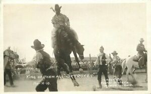 Cowboy rodeo Foster Miles City Montana 1920s RPPC Photo Postcard 21-1887
