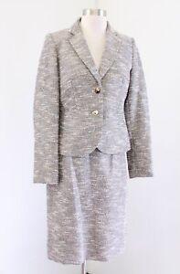 Calvin Klein Beige Multi Color Metallic Boucle Tweed Skirt Suit Set Size 6P
