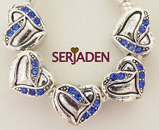 5 Royal Blue Stone Heart Charms Fits European Jewelry 11 * 10 & 5 mm Hole   R211