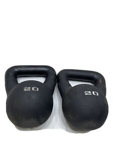 2 Lot 20lbs Weider Kettlebell Dumbbells Weight 40lbs Total Rubber Cover Home Gym