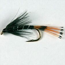 6 BLACK PENNEL Wet Trout Fly Fishing Flies size options by Dragonflies
