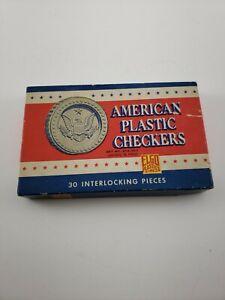 American Plastic Checkers W/Box Elgo Plastics Inc 30 Interlocking Pieces Vintage