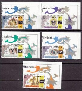 1977 Dominica Queen Elizabeth 11 Silver Jubilee set of 5 mint stamps.